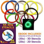 3D-Pen-Filament-Refills-50-STENCIL-EBOOK-BONUS-GLOW-IN-THE-DARK-COLOR-INCLUDED-175mm-ABS-240-Linear-Feet-Total-of-12-Different-Colors-in-20-Foot-Lengths-0