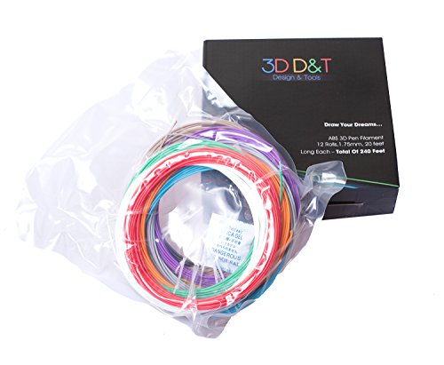 3D-Pen-Filament-Refils-20-Feet-Of-12-Unique-Colors-240-Linear-Feet-Of-175MM-Diameter-ABS-Plastic-In-Total-Suitable-For-Desktop-3D-Printers-Top-Quality-Material-For-Doodling-With-Free-Stencil-E-Book-0-0