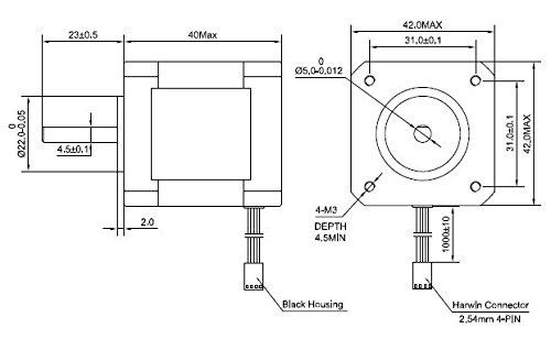 5PCS-Nema17-Stepper-Motor-2A-64ozin-40mm-Body-4-lead-1m-Cable-W-Connector-0-2
