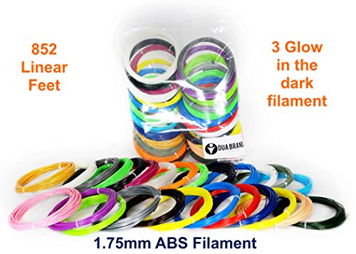 852-Linear-Feet-3d-Pen-Filament-175mm-ABS-Pack-of-26-Unique-Colors-3-Glow-in-the-Dark-32-Feet-Each-Color-By-Dua-Brand-0-4