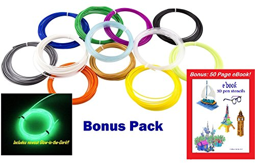 3D-Pen-PLA-Filament-175mm-12-Color-X-20-Feet-Mega-Value-Pack-240-ft-for-Art-Design-and-Industrial-150-Stencils-eBook-Free-0